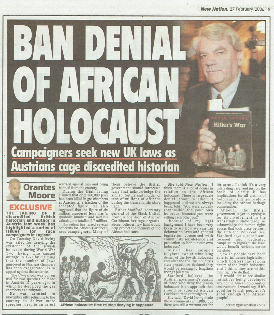 BAN DENIAL OF AFRIKAN HOLOCAUST