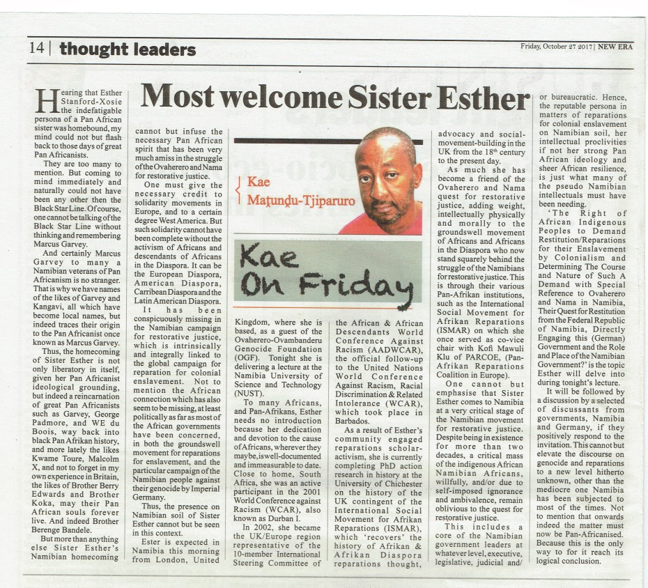 esx namibia newspaper welcome esther